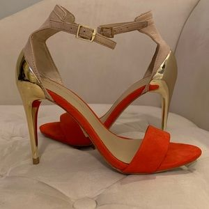 Zara Basic Coral/Tan Suede With Gold Heels